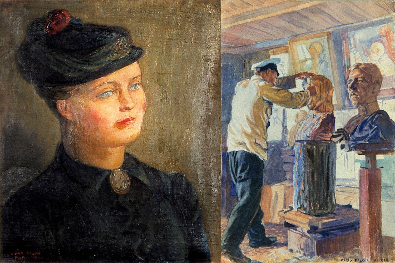 Veno Pilon_Anne Marie s klobukom (1940) in Moj ruski portret (1918)_foto Primož Brecelj